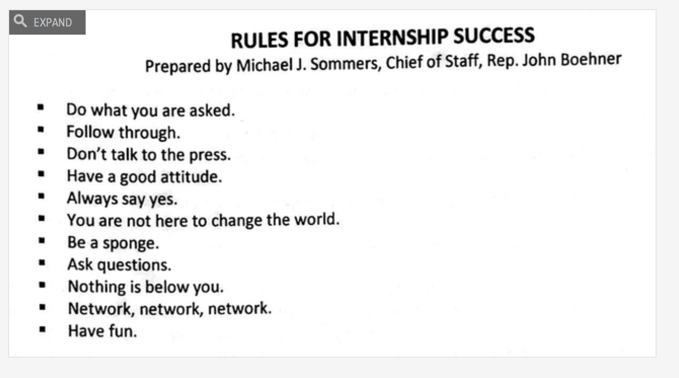"""21 Rules Of Success: Official Rules For Success In John Boehner's Office: """"Don"""