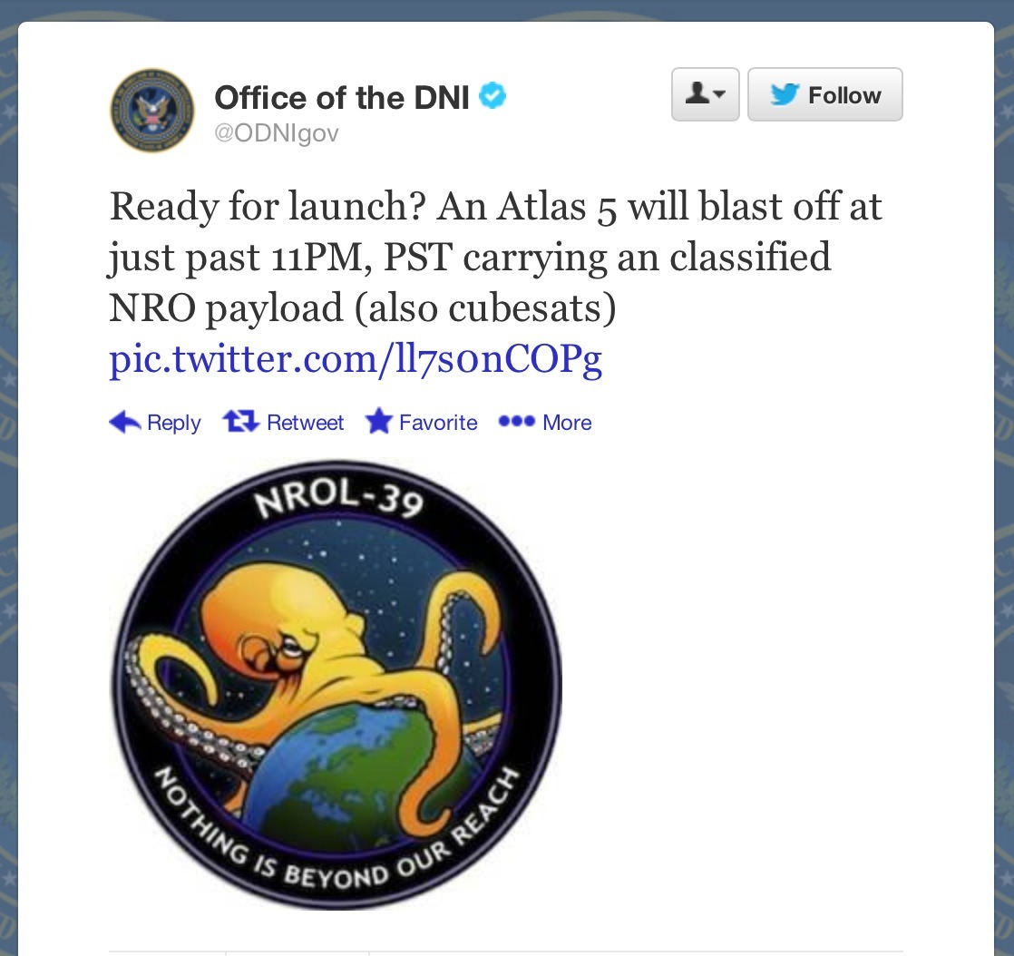 Picture of the Day: U.S. Spy Rocket's Official Logo is of a Giant Octopus Wrapped Around the Earth