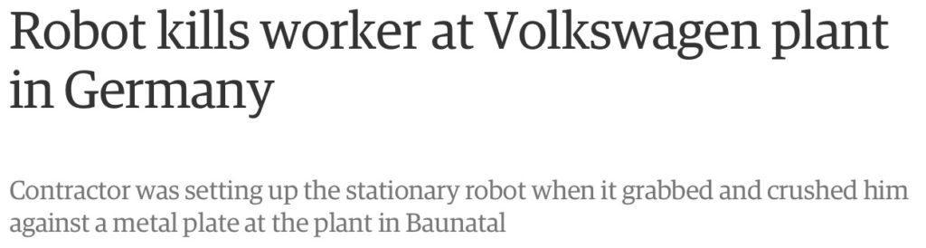 Robot Kills Worker at German Car Factory